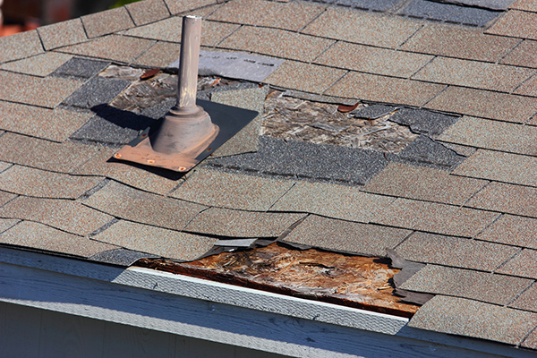 A close up view of shingles blown off a roof.