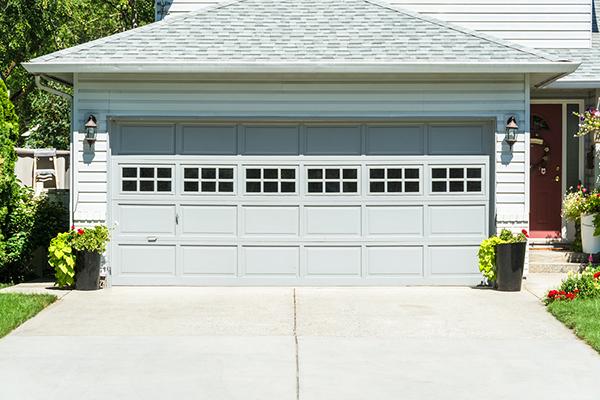 Wide garage door of residential house