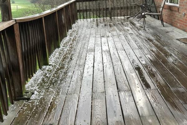 pellet sized hailstones on residential deck
