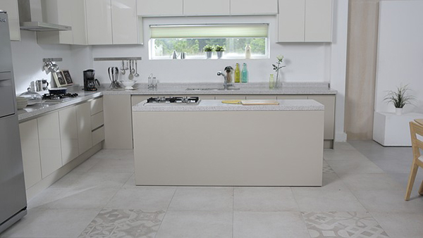 kitchen area with tile flooring