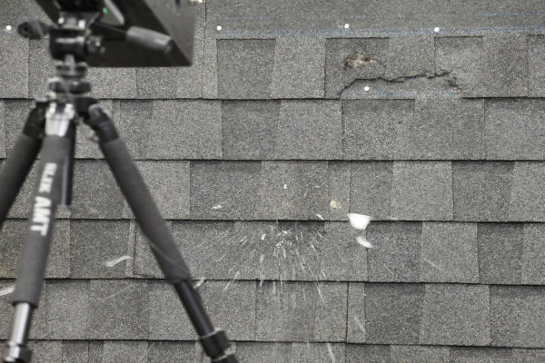hail damage on asphalt roof