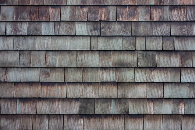 close up of wood shake shingles